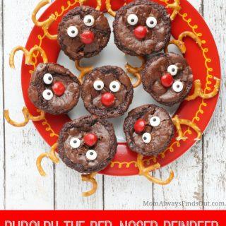 Rudolph Reindeer Brownie Bites Christmas Treats