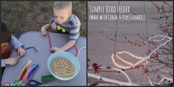 bird feeder with cheerios