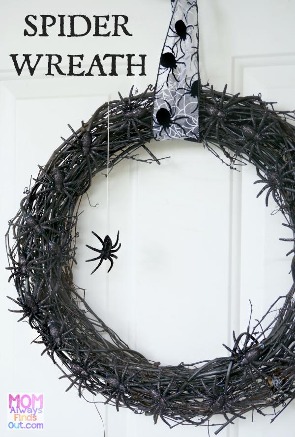 Halloween Crafts   Black Glitter Spider Wreath DIY Halloween Wreaths    Tutorial At @momfindsout