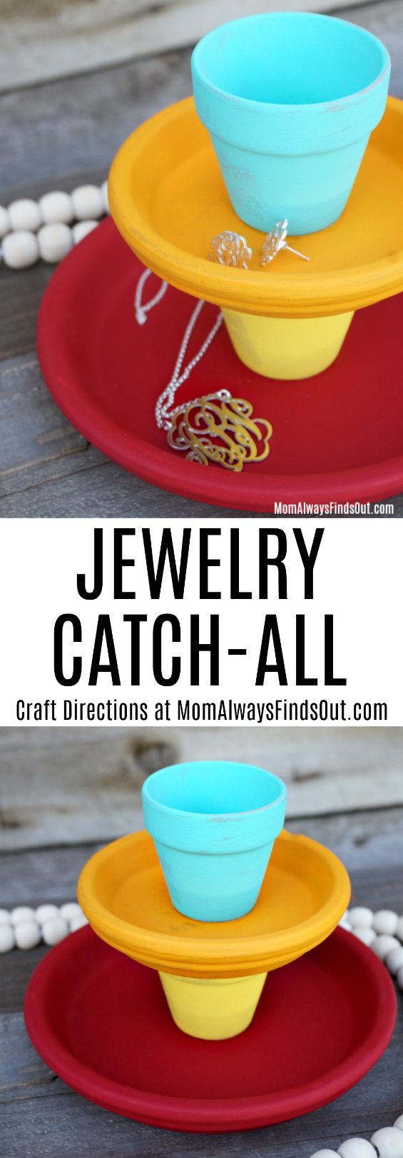 DIY Jewelry Catchall Craft Tutorial - Jewelry Holder Ideas - TerraCotta Pots Crafts