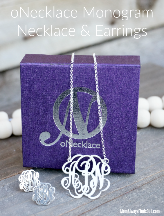 onecklace monogram necklace and monogram earrings personalized jewelry initial jewelry