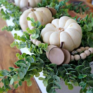 DIY Farmhouse Decor - White Pumpkins and Eucalyptus Wooden Planter Box Centerpiece - Fall and Thanksgiving Decoration Ideas