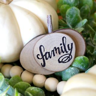 DIY Mini Pumpkins - Wood Slices Craft Idea