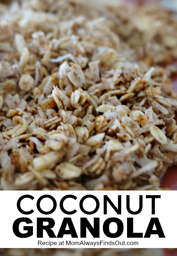 This easy homemade coconut granola recipe can be served as a hot or cold cereal. Serve the raw mixture before toasting to enjoy it like a muesli. Coconut granola features shredded coconut, ground flax seed, cinnamon and other spices, and coconut oil! It is naturally sweetened with maple syrup.