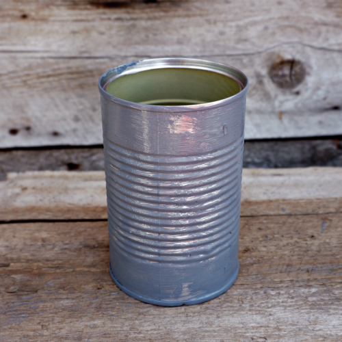 DIY Planter Ideas - Tin Can Planters - How To Paint Faux Galvanized Metal Look with Craft Paints