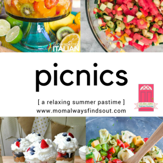Picnics are a relaxing summer activity packed with tasty foods, drinks, fun, and games. Check out my Mini Round-up of picnic ideas. Plus, link up your latest blog posts down below at the Home Matters party linky. #picnics #summer #HomeMattersParty