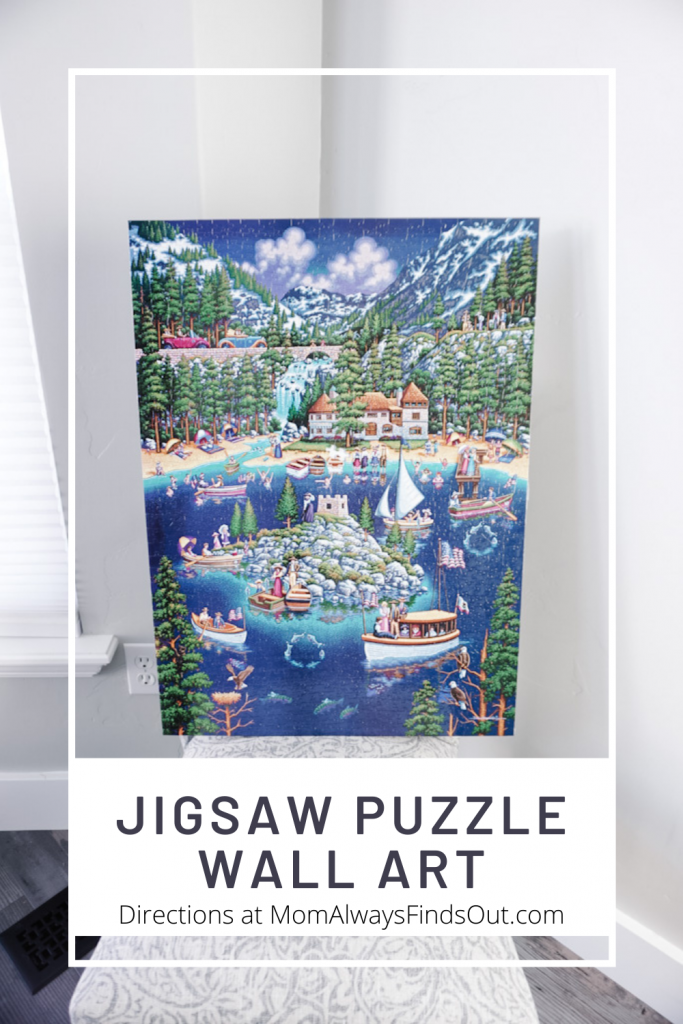DIY Jigsaw Puzzle Wall Art - How To Glue and Mount a Finished Jigsaw Puzzle For Hanging on the wall. Directions at @momfindsout