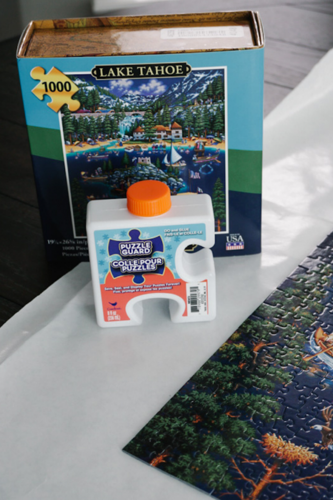 Jigsaw Puzzle Glue holds puzzle together and dries clear with a protective, high gloss finish.