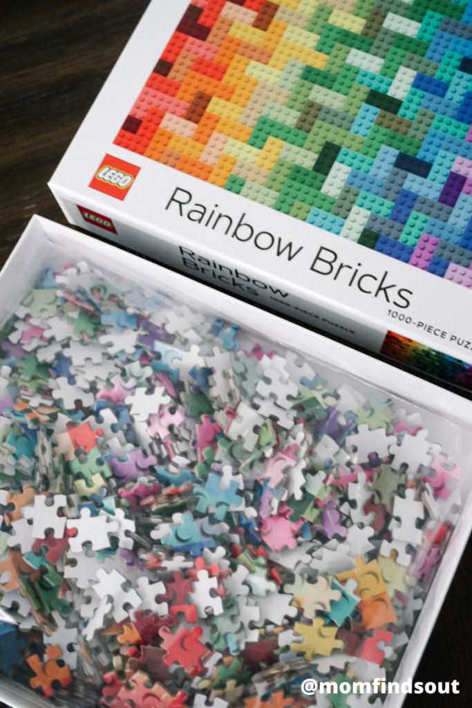LEGO Rainbow Bricks 1000 piece puzzle featured at Mom Always Finds Out