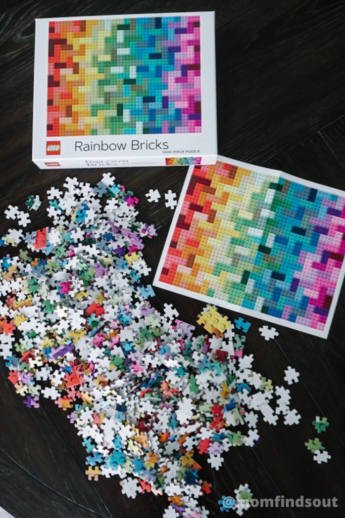 LEGO Rainbow Bricks Jigsaw Puzzle 1000 piece LEGO jigsaw puzzles featured at Mom Always Finds Out @momfindsout