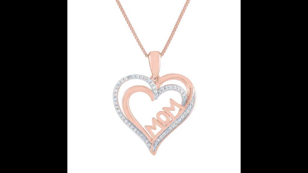 mom necklace heart diamonds rose gold